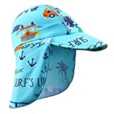 HUAANIUE Baby Toddler Sun Protection Hat UPF 50 + Flap Hat Blue 6-18month
