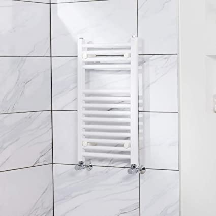 Secador de toallas, 251 W, 700 x 400 mm, curvado, blanco,