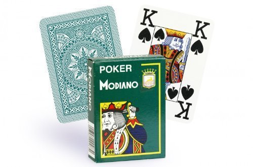 - Modiano 100% Plastic Playing Cards Cristallo 4 PIP JUMBO INDEX (Dark Green)
