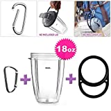 ELEFOCUS Replacement Cup for Nutribullet, 18 oz Capacity Short Cup + Handle Carrier + Alloy Carabiner for Nutribullet 600w 900w