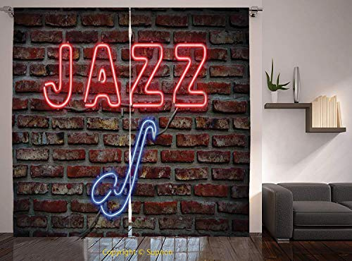 - Living Room Bedroom Window Drapes/Rod Pocket Curtain Panel Satin Curtains/2 Curtain Panels/108 x 72 Inch/Music,Image of Alluring Neon All Jazz Sign with Saxophone Instrument on Brick Wall Print Decora