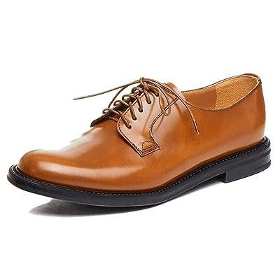 A-BUYBEA Women's Formal Leather Low-Heel Derby Walking Shoes 4.5-7.5