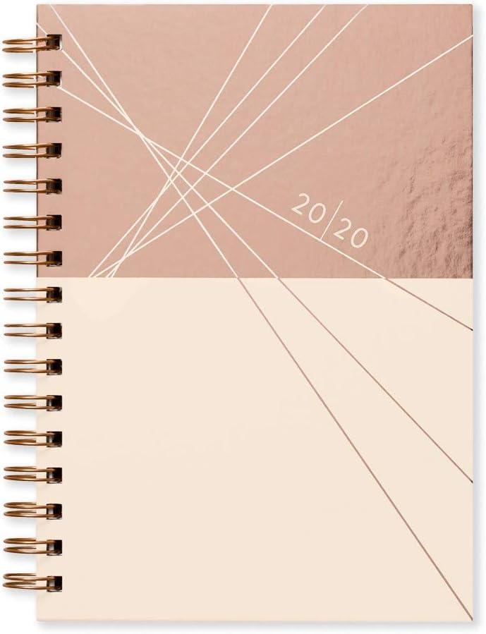 Agenda semanal A5 con espiral de Matilda Myres, color oro rosa, color Marfil con personalización. A5