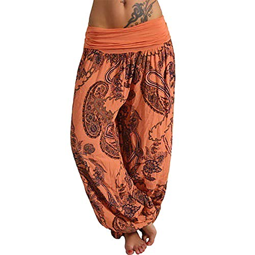 - 2019 New Casual Bohemia Print Pants Wide Leg Pants Loose Trousers Harem Pants Summer hot,Orange,XXL,China