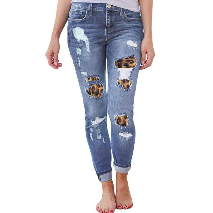 Keepmore Pantalones Vaqueros de Costura de Leopardo para ...