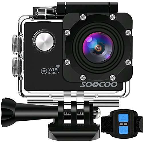 WIFI Action Camera, SOOCOO Waterproof Sport Camera 12MP FHD 1080P 170 Degree Wide Angle Underwater Diving Camera 2 inch LCD Screen/2.4G Remote Control/2x1350mAh Battery(Micro SD Card No Include)-Black