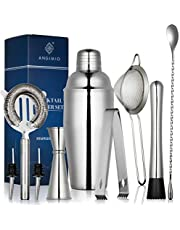Premium 9-Piece Cocktail Shaker Set by Angimio: Stainless Steel Bartender Kit: 25oz (750ml) Martini Mixer, Cocktail Strainer Set, Muddler, Mixing Spoon, Jigger, Ice Tong and 2 Liquor Pourers