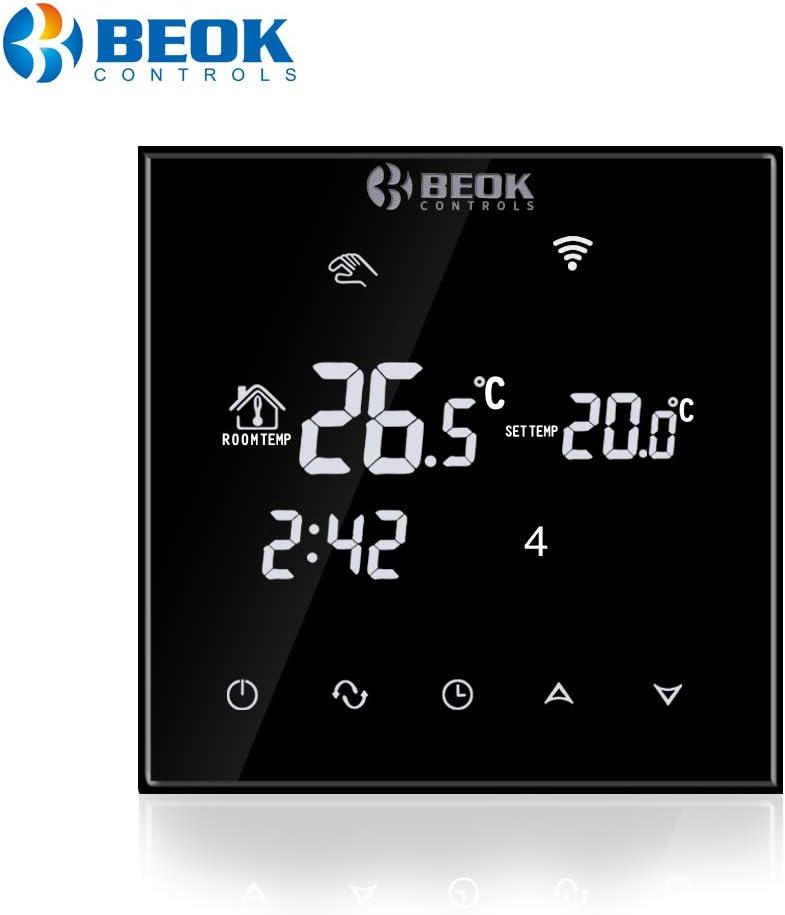 Beok TGT70WIFI-EP Termostato Digital Programable Para Calefacción Eléctrica Debajo Del Piso, Control De La Temperatura De La Habitación Con Teléfono Inteligente Negro,230.00 V,16A