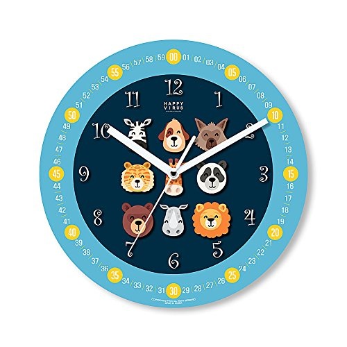 HappyVirus 11.22'' Educational Wall Clock, Children's Time Telling Teacher, Silent Non Ticking Home Decoration (9 Animals) #2112 by HappyVirus