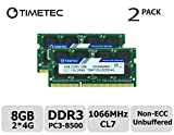 Timetec Hynix IC 8GB Kit (2x4GB) DDR3 1066MHz PC3-8500 Unbuffered Non-ECC 1.5V CL7 2Rx8 Dual Rank 204 Pin SODIMM Apple Memory RAM Module Upgrade (8GB Kit (2x4GB))