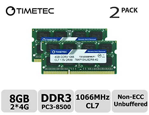- Timetec Hynix IC 8GB Kit (2x4GB) DDR3 1066MHz PC3-8500 Unbuffered Non-ECC 1.5V CL7 2Rx8 Dual Rank 204 Pin SODIMM Memory RAM Module Upgrade (8GB Kit (2x4GB))