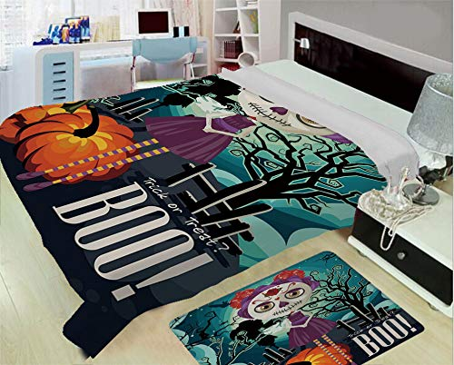 Flannel Printed Blanket for Warm Bedroom,Halloween,Cartoon Girl with Sugar Skull Makeup Retro Seasonal Artwork Swirled Trees Boo Decorative,Multicolor,One Side Printing,Excess Value -