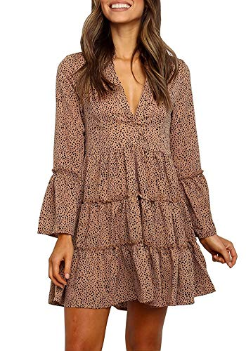 MITILLY Women's Ruffle Long Sleeve V-Neck Leopard Flowy Loose T Shirt Tunic Dress Small Khaki