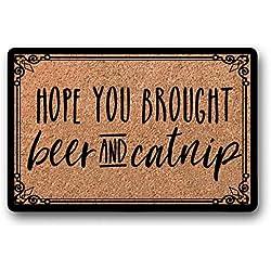 """BXBCASEHOMEMAT Hope You Brought Beer and Catnip Doormat - Cute Door Mat - Custom Welcome Mat - Wine & Cat Treats - Cat Lady - Bunch of Cats - Funny Rug 18"""" x 30"""""""