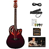 Ovation AE44-RR-KIT-1 Applause Elite Acoustic-Electric Cutaway Guitar with Chromacast Accessories, Ruby Red