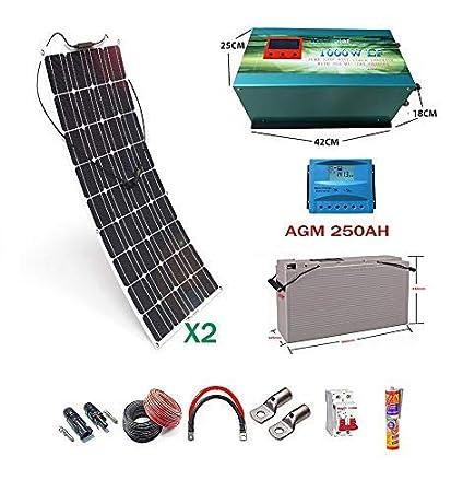 Kit 12V Panel Solar Flexible 150W Inversor 1000w con ...