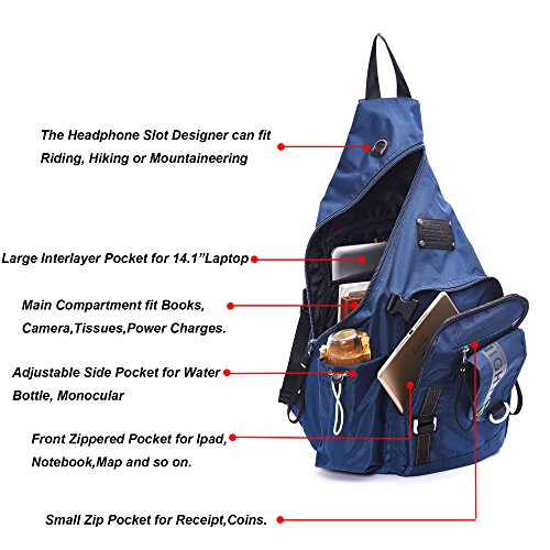 DDDH Large Sling Bags Crossbody Backpack 14.1-Inch Chest Daypack Outdoor Hiking Travel Bag Book Bag for Men&Women