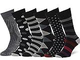 Easton Marlowe Men's Dress Socks Subtle Patterns - 6pk #38, Argyle Striped Polkadot - 43-46 EU shoe size