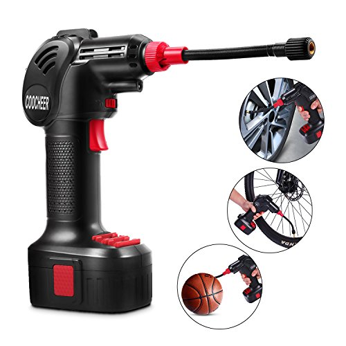 Coocheer Portable Air Compressor Pump,Electric Power Cordless Tire Inflator Hand Held Pump with Li-ion 12V 150PSI,Built in LED Light