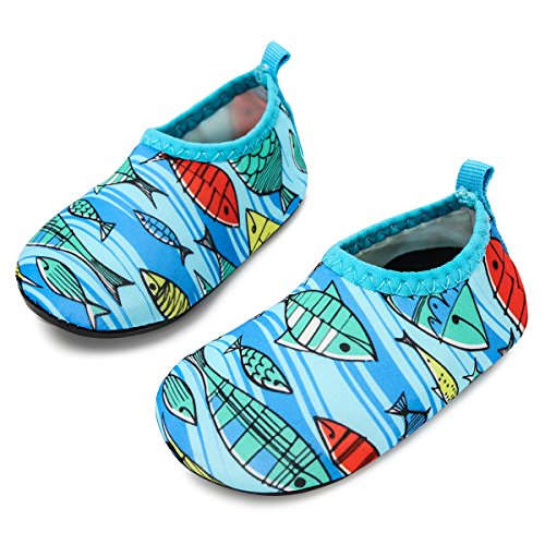 JIASUQI Babys Girls and Boys Comfort Walking Water Shoes for Outdoor Swimming River Fish Light Blue 6-12 Months