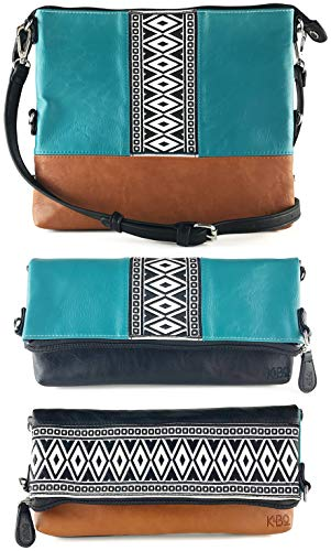 K&Bo Women's Cross Body Bag and Clutch with Boho Style Embroidery, Teal/Black/Brown ()