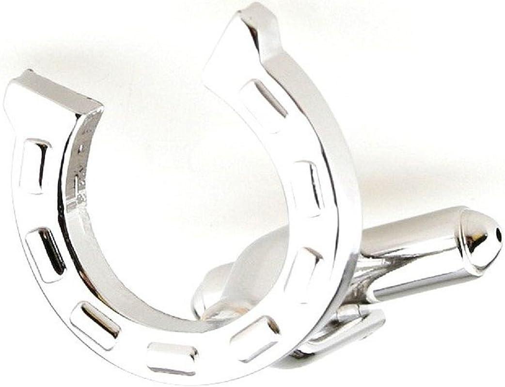 MRCUFF Horseshoe Horse Pair Cufflinks in a Presentation Gift Box & Polishing Cloth