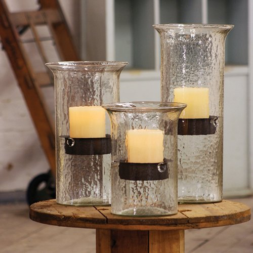 Textured Glass Cylinder Candle Holder with Rustic Insert - Tall