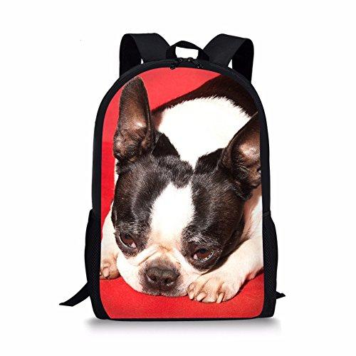 - Showudesigns Boston Terrier School Backpack for Teen Girls Shoulder Bookbag Red