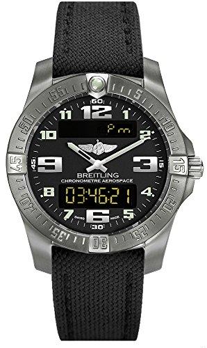 Breitling Quartz Chronograph ((Canvas Strap new style) Breitling Mens Aerospace Evo Titanium Watch E7936310/BC27)