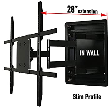 Image of In Wall TV Mount, Recessed Articulating In Wall TV Mount for 42 to 80 Inch TVs LCD, LED, or Plasma - Extends 28 Inches TV Ceiling & Wall Mounts