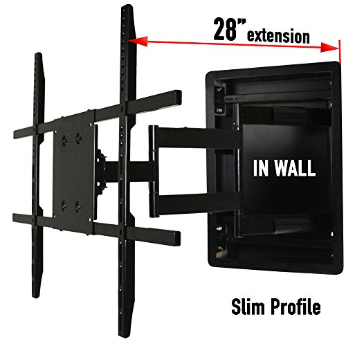 In Wall TV Mount, Recessed Articulating In Wall TV Mount for 42 to 80 Inch TVs LCD, LED, or Plasma - Extends 28 Inches