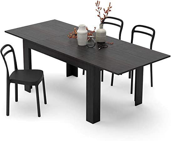 Mobili Fiver Table Extensible Cuisine Easy Frene Noir 140 X 90