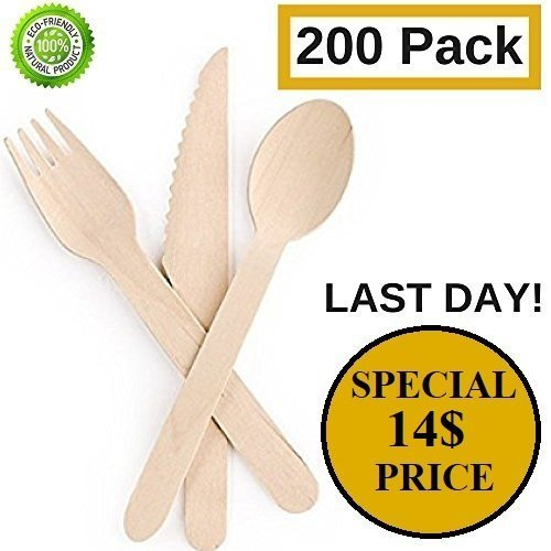 "Disposable Wooden Cutlery set| All-Natural, Eco-Friendly, Biodegradable, and Compostable - Pack of 200- 6.5"" kitchen utensils (100 forks, 50 spoons, 50 knives), For Weddings, Parties, Camping, BBQ"