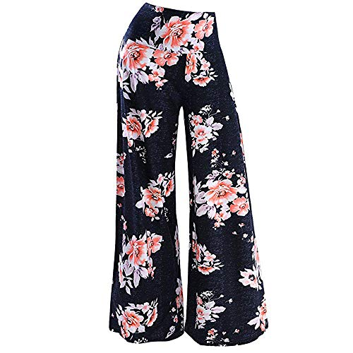(Palazzo Pants for Women,2019 New Women's Stretchy Wide Leg Palazzo Lounge Pants Comfy Chic Solid and Printed Pants Orange)