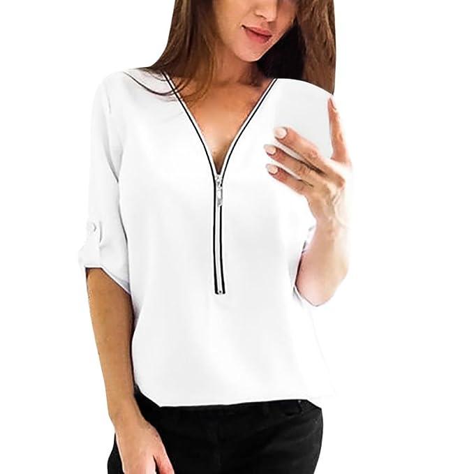 1406de431023 KIMODO 2018 t Shirt Top Bluse Damen Sommer Schwarz weiß v Ausschnitt Basic  Weiss mit Print