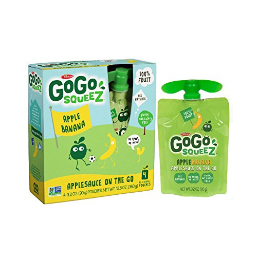 GoGo SqueeZ Applesauce on the Go, Apple Banana, 3.2 Ounce Portable BPA-Free Pouches, Gluten-Free, 48 Total Pouches (12 Boxes with 4 Pouches Each) (No Sauce Salt Organic)
