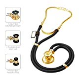 MDF Sprague Rappaport Dual Head Stethoscope with Adult, Pediatric, and Infant convertible chestpiece - 22K Gold Edition - Black (MDF767K-11)