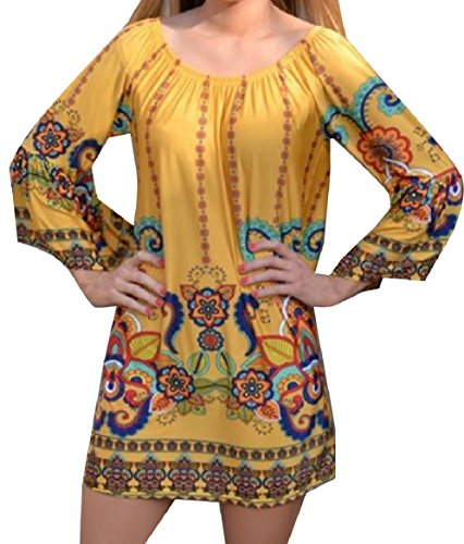 Coolred-femmes Col Rond Floral Navajo Blouses À Manches Longues Robe Chemise Comme Image