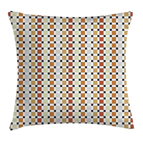 """Ambesonne Retro Throw Pillow Cushion Cover, Checkered Business Theme Rhombus Cubical Different Pastel Colors Artwork, Decorative Square Accent Pillow Case, 24"""" X 24"""", Orange Amber"""