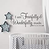 BATTOO I Am Fearfully And Wonderfully Made Psalm 139:14 Nursery Vinyl Decal 40''w Christian Wall Art Religious Wall Decal, Customize Your Color