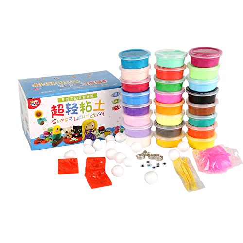 Romote Polymer Clay, 24 Colors Eco-friendly Air Dry Clay DIY Creative Magic Modeling Dough with Tools for Kids