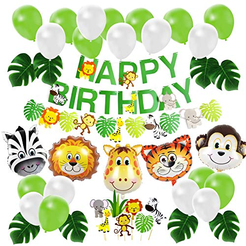 (Jungle Safari Birthday Party Decoration Set, Party Supplies, Animal Balloons Cupcake Topper Leaves)