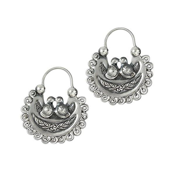NOVICA-925-Sterling-Silver-Hoop-Earrings-Mazahua-Lovebirds