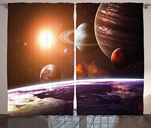 Modern Decor Curtains by Ambesonne, Solar System with Planets Outer Space Objects Sun Dark Matter Background, Living Room Bedroom Window Drapes 2 Panel Set, 108W X 63L Inches, Orange Purple by Ambesonne