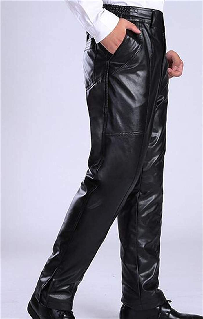 Lutratocro Mens Casual Faux-Leather Windproof Thick Moto Wool Lined Pants
