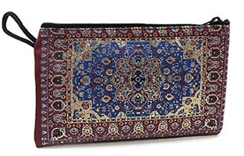 PunPund Turkish Blue Wallets Traditional Antique Style Fabric Woven Various Pattern Coin Zip Bag 1 Piece from PunPund
