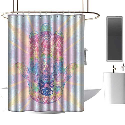 Wixuewu Hamsa,African Shower Curtains for Bathroom Sets,Spiritual Energy Flow Aura Inspired Design Harmony Yoga Meditation Theme,Shower Curtains for Bathroom Sets,W108 x L72,Aqua Light Pink Peach