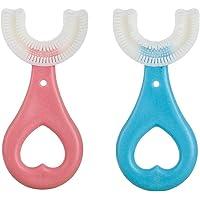 Tumnea All Rounded tandenborstel voor kinderen, U-vorm, tandenborstel met siliconen borstelkop, massage-tandvlees…