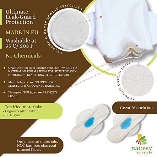 Waschbare Binden bio Baumwolle (Single M), Stoffbinden waschbar MADE IN EU; kIeine & lange Binden wiederverwendbar mit Flügeln; wiederverwendbare Binden für Menstruation, starke Blutung
