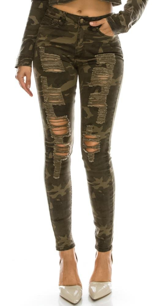 TwiinSisters Women's High Rise Stretch Destroyed Ripped Color Skinny Pants Jeans Multi Styles (Size 9, Camo #Rjh838)